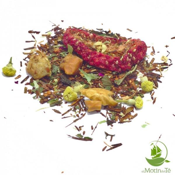 Rooibos rojo buenas noches. Rooibos, tila, melisa, hierba luisa, azahar, manzanilla, fresa, manzana, naranja, rosa